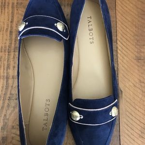 Talbots Indigo Blue Francesca Button Flats
